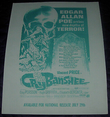 Cry Of The Banshee  Promotional Flyer  Vincent Price  Aip  1970  Horror