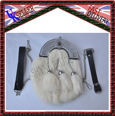 Deluxe Scottish Full Dress Sporran Rabbit Fur & Chrome Celtic Cantle