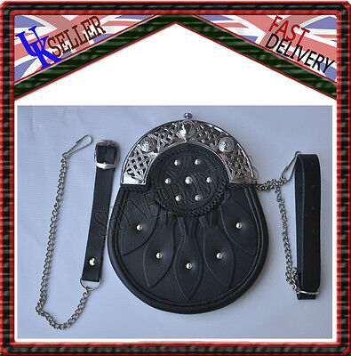 Deluxe Scottish Full Dress Sporran Black Studded Leather Brass Chrome Cantle