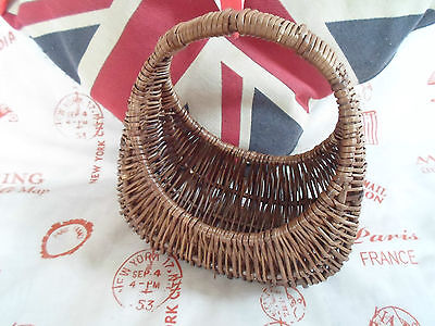 Tiny Brown Wicker Shopping Basket ~Child War Weekend WWII Re-enactment Accessory