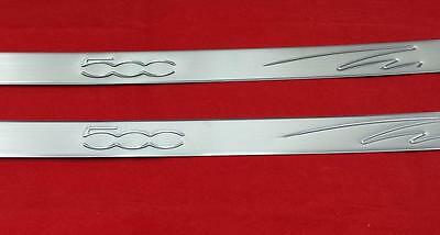 Fiat 500 2007+ Hb 3Dr & Cabrio Chrome 2 Door Sill Scuff Protectors Covers Steel