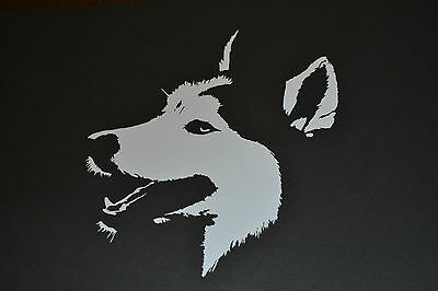 15Cm White Husky Face  Sticker Decal Siberian  Sled Dog Dogs Huskies Mush Sibes