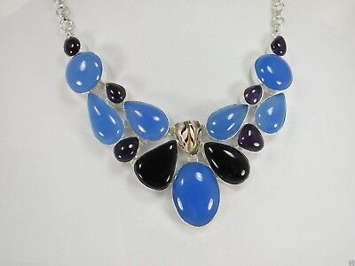 """N+1364 20""""-24""""Adjustable, 22x30 mm, Natural Blue Chalcedony Gemstone Necklace"""