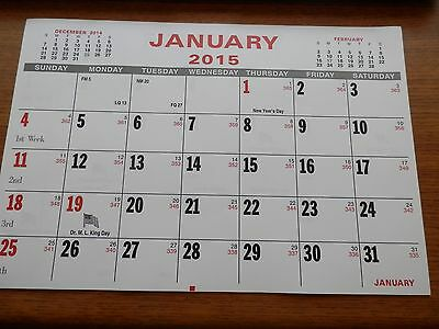 2015 CALENDAR PAD MONTHLY TEAR-OFF 10-7/8 x 7-3/8 GREAT FOR POCKET OF NOTEBOOK