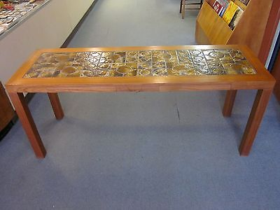 Danish Teak + Tiled Console/Sofa Table with 2 Shallow Drawers c1970