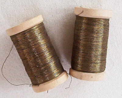 Vintage Spools Gold Metallic Thread for Hand Sewing Quality  French