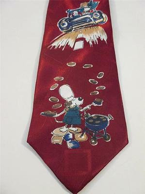"Men's Neck Tie Maroon Father's Day ""Dog Dad"" Made in the USA NWOT T5454"