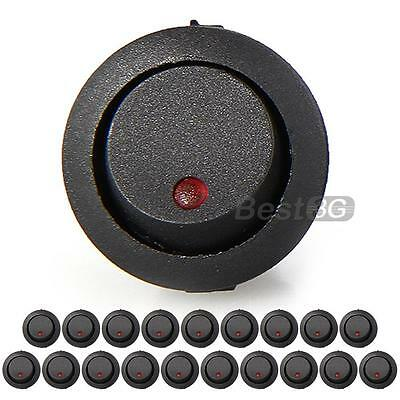 20 Round Red LED Rocker Indicator Switch 3 Pin On-Off Snap-in 12V DC