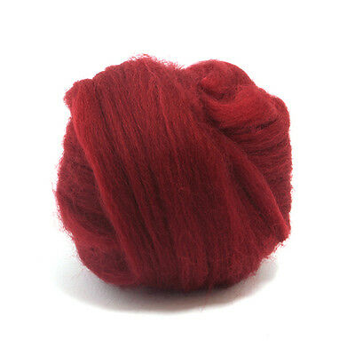 100g Dyed Merino Wool Top Ruby Red Dreads Needle Spinning Felting Roving