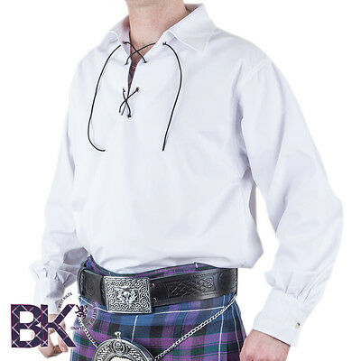 Deluxe Traditional Scottish Mens Ghillie Shirt, Black or  White S to XXXL sizes