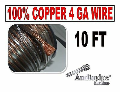 10' FT 4 GA AWG BLACK POWER GROUND WIRE PRIMARY REAL 100% COPPER BATTERY CABLE