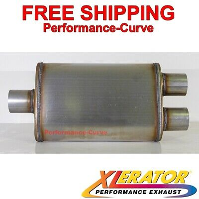 "Xlerator XS1236 Performance Muffler Stainless Steel 4/""x9/"" Offset//Offset 14/"" Body"