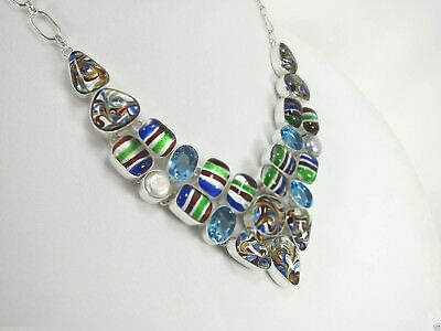 """N+1363  20""""-24""""Adjustable, 13x19 mm, Blue Quartz and Dichroic Glass Necklace"""