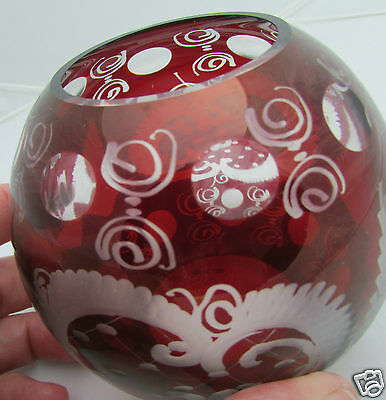 Small Ruby Red Cut to Clear Etched Bohemian Glass Round Bowl Vase