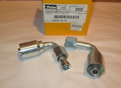 "Parker 14143-10-10, Female JIC 90° 5/8"" x 5/8"" Hose Fitting (Box of 2)"
