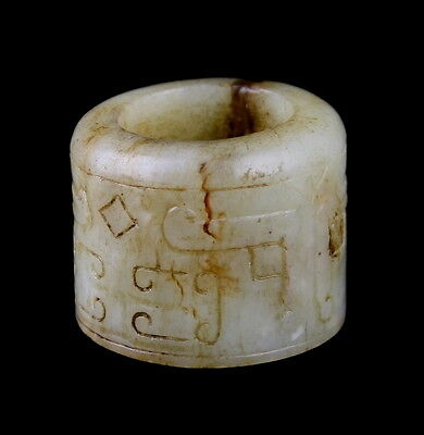 Chinese Han Dynasty Jade Archer's Thumb Ring - Ornately Carved
