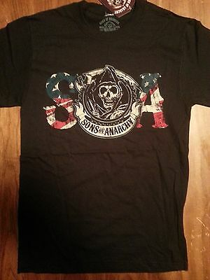 Sons of Anarchy SOA Tv Show Skull Reaper USA American Flag T-Shirt