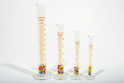 Laboratory Borosilicate Glass Measuring Cylinder Set 10;25;50;100Ml - 1 Of Each