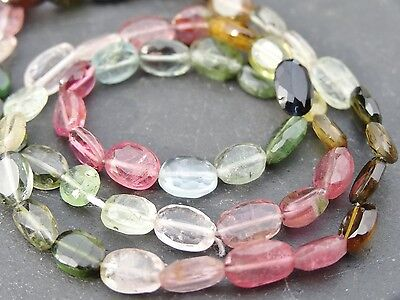 "HAND FACETED TOURMALINE OVALS, approx 4x6mm, 15"", 70 beads"