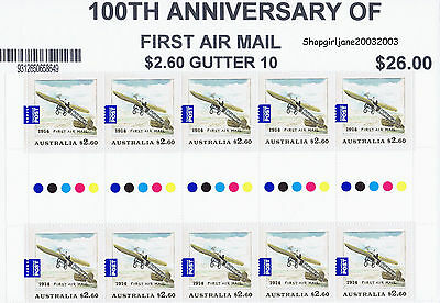 2014 ✈Australia ✈100th Anniversary of First Air Mail ✈$2.60 gutter strip of 10 ✈