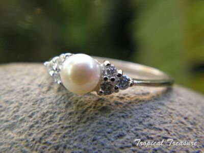 5mm White Pearl Solitaire, CZ's & 925 SOLID Silver RING (Size 7,N 1/2)