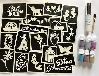 Girl Glitter Tattoo Party Kit 20 Stencil/6 Puffer/Glue Set-Mermaid/Unicorn/Fairy