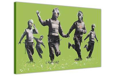 Banksy Riot Coppers Green Canvas Wall Art Prints Photo Printing Pictures Decor