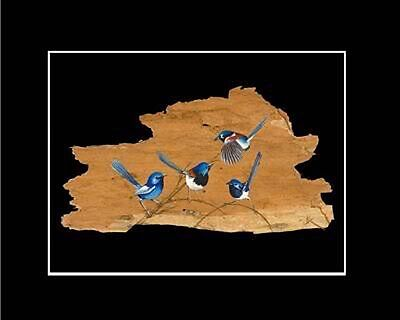 FAIRY WREN  PRINT -- SIGNED BY ARTIST -- BARK ART Unique Australiana