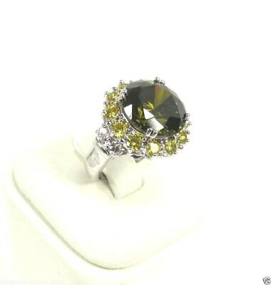 R#1643 simulated Forest Green Peridot Gemstone ladies Ring silver size 7.25