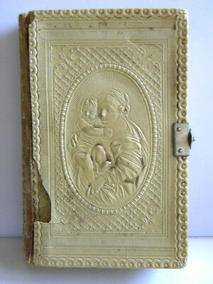 1896 ANTIQUE RELIGIOUS BOOK CELLULOID OUR LADY w/ JESUS CHILD ENGRAVING