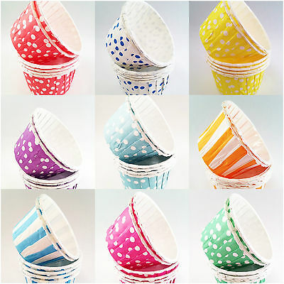 Pleated Baking Cups / Cupcake Cases / Polka Dot / Stripes / Paper Cups x 20
