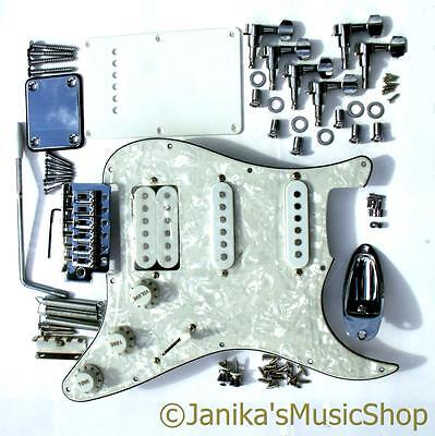 HSS stratocaster type parts loaded pearl pickguard machine heads tremolo bridge