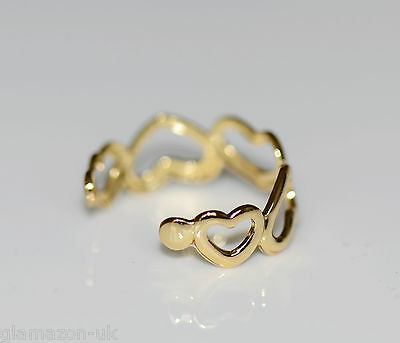 Toe Ring Gold Tone Adjustable Love Heart Brand New Uk