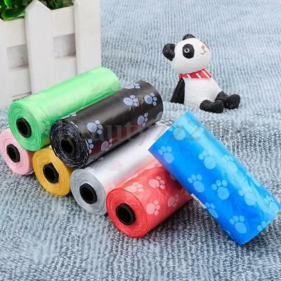 2 Rolls Pet Waste  Bags Plastic Dog Cat Puppy Poop Poo Clean-Up Pick Up Garbage