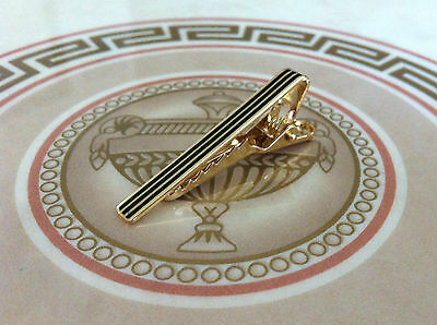 Mens Boys 4CM Skinny Tie Bar -Gold Black Stripe- Stainless Steel Clip Clasp Pin