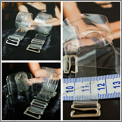 T9 Transparent Clear BRA Straps Invisible Adjustable Metal Hook UK 1.50cm width