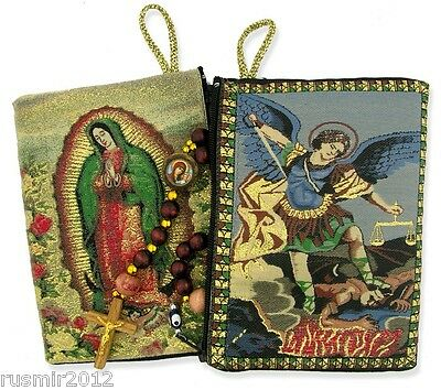 Lady Guadalupe & St. Michael Rosary Icon Pouch