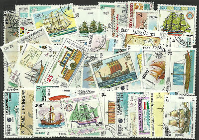 Collection Packet of 50 Different SAILING SHIPS & BOATS Stamps - mainly USED