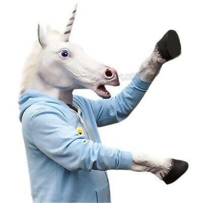 Latex Animal Unicorn Head Mask + Hooves Glove Cosplay Halloween Party Prop Toys
