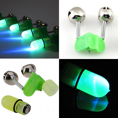 10x New Outdoor Rod Tip LED Light Night Fishing Clip Twin Ring Bite Alarm Bells