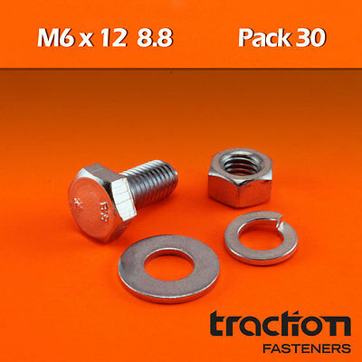M6 x 12 Hex Bolt (Screw) Nut Washer Spring High Tensile 8.8 Metric 6mm 12mm
