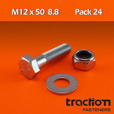 M12 x 50 Hex Bolt Nyloc Nut Washer High Tensile 8.8 Metric 12mm 50mm Set Screw