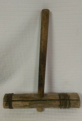 Very Old Vtg Wooden MALLET Wire wrapped ends Wood Hammer Boat? Primitive Tool