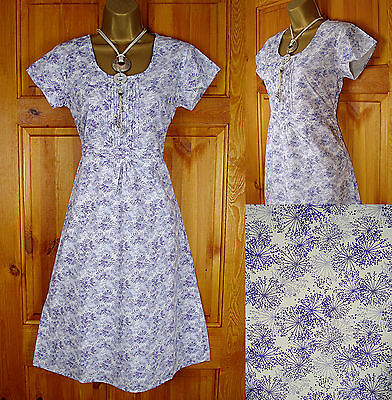 WHITE STUFF PURPLE LILAC BLUE VINTAGE 50s STYLE FLORAL COTTON SUMMER TEA DRESS