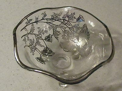 Vintage Flanders Poppy Silver Overlay 3 footed Candy Dish