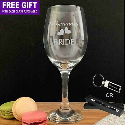 Personalised Engraved 310ml Wine Glass Goblet Wedding Bomboniere Favour Gift