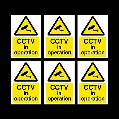 CCTV in Operation Sign, Sticker - 50mm x 70mm - Pack of 6 - Security (MISC11)