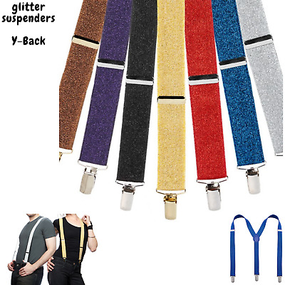 GLITTER SPARKLE SUSPENDERS Braces Clipon Elastic Y-Back Slim Adjustable Disco