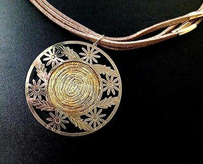 Necklace Golden Grass Pendant Ecircled with 18K Gold Plated Delicate Design