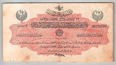 TURKEY 1/2 LIVRE P82 1331 1912 OTTOMAN EMPIRE D or E SERIE TURKISH CURRENCY NOTE